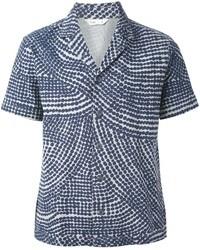Camisa de manga corta estampada azul marino