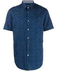 Camisa de manga corta estampada azul marino de BOSS HUGO BOSS