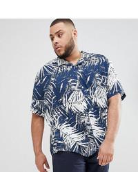 Camisa de manga corta estampada azul marino de Jacamo