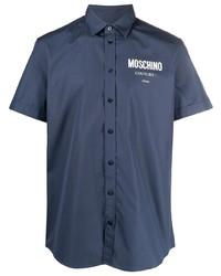 Camisa de manga corta estampada azul marino de Moschino
