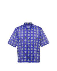 Camisa de manga corta estampada azul de Maison Margiela