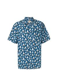 Camisa de Manga Corta Estampada Azul de Marni