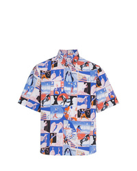Camisa de manga corta estampada azul de Prada