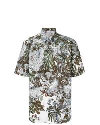 Camisa de manga corta estampada blanca de Brioni