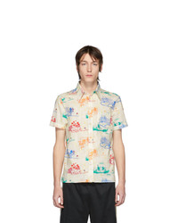 Camisa de manga corta estampada blanca de Gucci