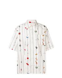 Camisa de manga corta estampada blanca de Marni
