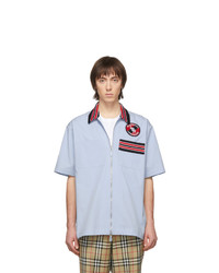 Camisa de manga corta estampada celeste de Burberry