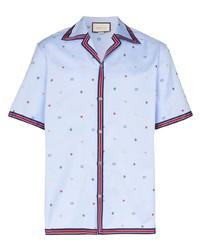 Camisa de manga corta estampada celeste de Gucci