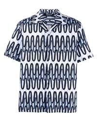 Camisa de manga corta estampada celeste de Neil Barrett