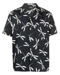 Camisa de manga corta estampada en azul marino y blanco de A.P.C.