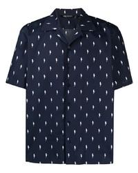 Camisa de manga corta estampada en azul marino y blanco de Neil Barrett