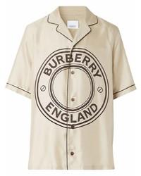 Camisa de manga corta estampada en beige de Burberry