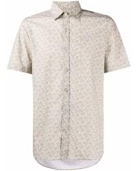 Camisa de manga corta estampada en beige de Canali