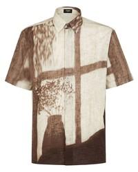 Camisa de manga corta estampada en beige de Fendi
