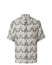 Camisa de manga corta estampada en beige de Versace Collection