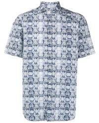Camisa de manga corta estampada en blanco y azul marino de Canali