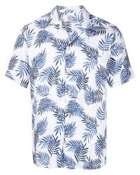 Camisa de manga corta estampada en blanco y azul marino de Eleventy