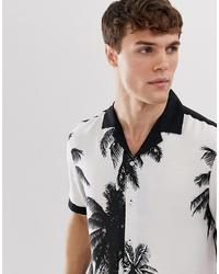 Camisa de manga corta estampada en blanco y negro de Burton Menswear