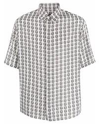 Camisa de manga corta estampada en blanco y negro de Fendi