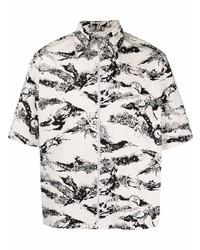 Camisa de manga corta estampada en blanco y negro de Givenchy