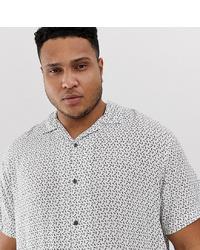 Camisa de manga corta estampada en blanco y negro de Jack & Jones