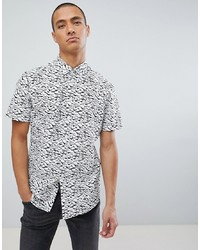 Camisa de manga corta estampada en blanco y negro de Jefferson