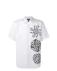 Camisa de manga corta estampada en blanco y negro de Just Cavalli