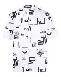 Camisa de manga corta estampada en blanco y negro de Neil Barrett