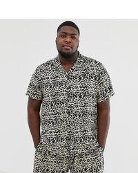Camisa de manga corta estampada en blanco y negro de New Look