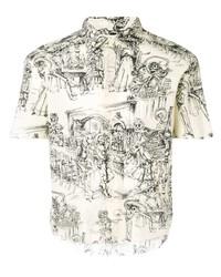 Camisa de manga corta estampada en blanco y negro de Saint Laurent