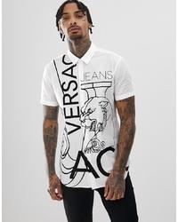 Camisa de manga corta estampada en blanco y negro de Versace Jeans