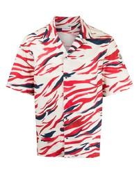 Camisa de manga corta estampada en blanco y rojo y azul marino de Moncler