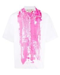 Camisa de manga corta estampada en blanco y rosa de Marni