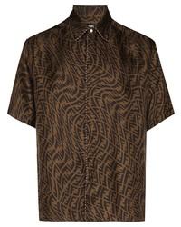 Camisa de manga corta estampada en marrón oscuro de Fendi