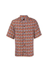 Camisa de manga corta estampada en multicolor de Prada