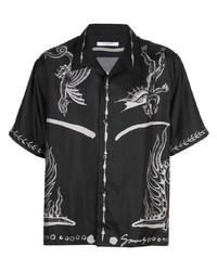 Camisa de manga corta estampada en negro y blanco de Givenchy