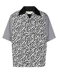 Camisa de manga corta estampada en negro y blanco de Marni