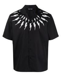 Camisa de manga corta estampada en negro y blanco de Neil Barrett