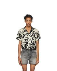 Camisa de manga corta estampada en negro y blanco de Saint Laurent