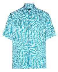 Camisa de manga corta estampada en turquesa de Fendi