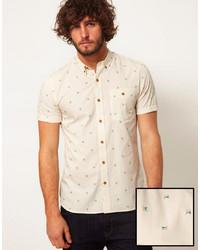 Camisa de manga corta estampada marrón claro de Asos