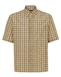 Camisa de manga corta estampada marrón claro de Fendi