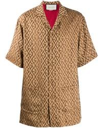 Camisa de manga corta estampada marrón claro de Gucci