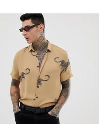 Camisa de manga corta estampada marrón claro de Heart & Dagger