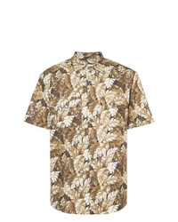 Camisa de manga corta estampada marrón claro de Julien David