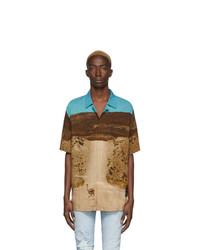 Camisa de manga corta estampada marrón claro de Marcelo Burlon County of Milan
