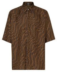Camisa de manga corta estampada marrón de Fendi