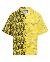 Camisa de manga corta estampada mostaza de Prada