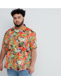 Camisa de manga corta estampada naranja de ASOS DESIGN