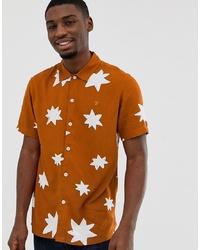 Camisa de manga corta estampada naranja de Farah